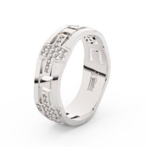 Dámský snubní prsten Danfil DLR3042 bílé zlato, zirkony, povrch lesk 56