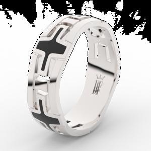 Pánský snubní prsten Danfil DLR3043 bílé zlato, bez kamene, povrch lesk 54