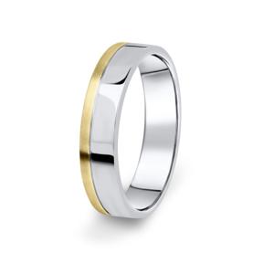 Prsten Danfil DF05/P žluté+bílé 585/1000 s bez kameneem povrch brus 51