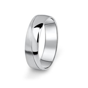 Prsten snubní Danfil DF01/P bílé zlato, bez kamene 52