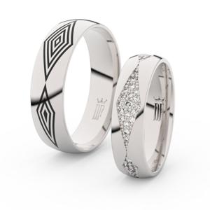 Snubní prsteny z bílého zlata s brilianty, pár - 3074