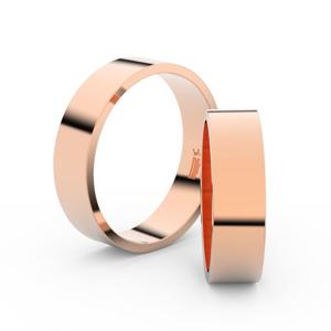 Snubní prsteny z růžového zlata, 5.5 mm, plochý, pár - 1G55