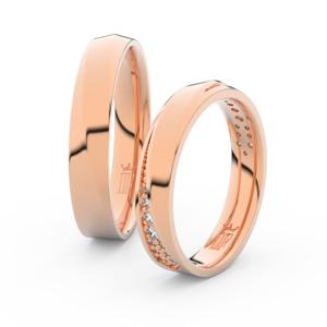 Snubní prsteny z růžového zlata se zirkony, pár - 3025