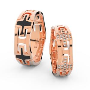 Snubní prsteny z růžového zlata se zirkony, pár - 3042