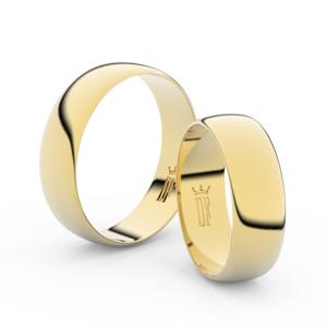 Snubní prsteny ze žlutého zlata, 6 mm, půlkulatý, pár - 9A60