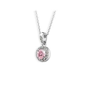 Zlatý dámský přívěsek DF 3099, bílé zlato, růžový safír s diamanty