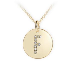 Zlatý dámský přívěsek DF 4485, písmenko F, žluté zlato, s brilianty
