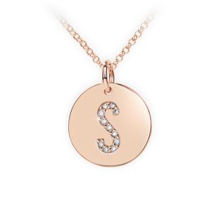 Zlatý dámský přívěsek DF 4498, písmenko S, růžové zlato, s brilianty