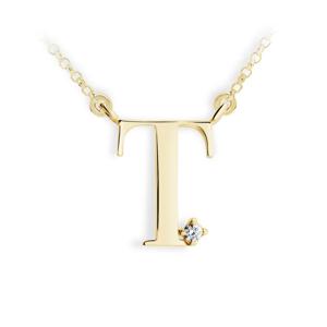 Zlatý dámský přívěsek DF 4525, písmenko T, žluté zlato, s řetízkem a briliantem