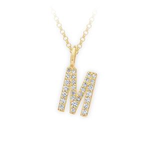 Zlatý dámský přívěsek DF 4746, písmenko M, žluté zlato, s brilianty