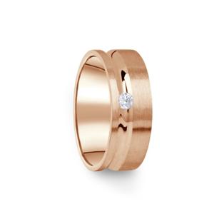 Zlatý dámský prsten DF 07/D z růžového zlata, s briliantem 69