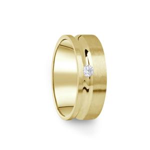 Zlatý dámský prsten DF 07/D ze žlutého zlata, s briliantem 61