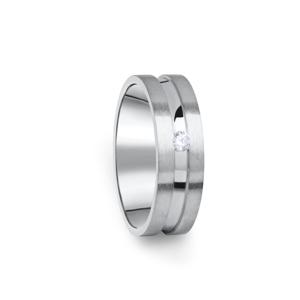 Zlatý dámský prsten DF 08/D z bílého zlata, s briliantem 58