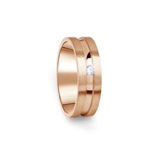 Zlatý dámský prsten DF 08/D z růžového zlata, s briliantem 68