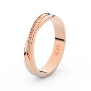 Zlatý dámský prsten DF 3019 z růžového zlata, s briliantem 61