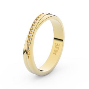 Zlatý dámský prsten DF 3019 ze žlutého zlata, s brilianty 61