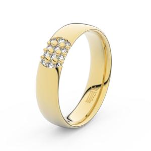 Zlatý dámský prsten DF 3021 ze žlutého zlata, s briliantem 61