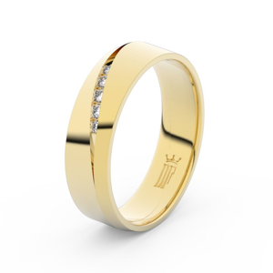 Zlatý dámský prsten DF 3034 ze žlutého zlata, s briliantem 58