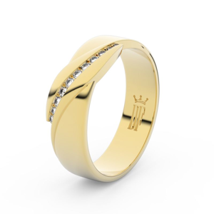 Zlatý dámský prsten DF 3039 ze žlutého zlata, s brilianty 53