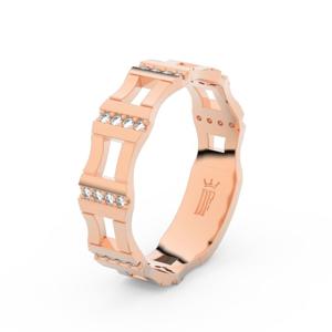 Zlatý dámský prsten DF 3084 z růžového zlata, s briliantem 51