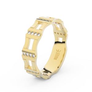 Zlatý dámský prsten DF 3084 ze žlutého zlata, s brilianty 51