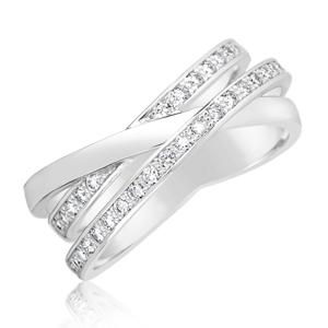 Zlatý dámský prsten DF 3255 z bílého zlata, s briliantem