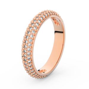 Zlatý dámský prsten DF 3918 z růžového zlata, s briliantem 56