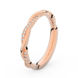 Zlatý dámský prsten DF 3951 z růžového zlata, s briliantem 48
