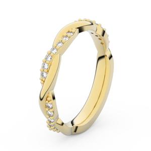Zlatý dámský prsten DF 3952 ze žlutého zlata, s briliantem 59