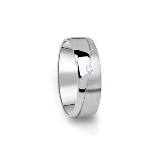Zlatý dámský snubní prsten DF 01/D z bílého zlata, s briliantem 53