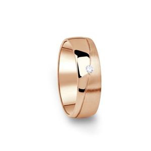 Zlatý dámský snubní prsten DF 01/D z růžového zlata, s briliantem 66